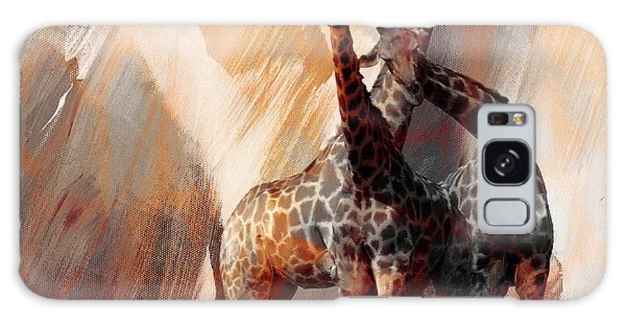 Giraffe Galaxy S8 Case featuring the painting Giraffe Abstract Art 002 by Gull G