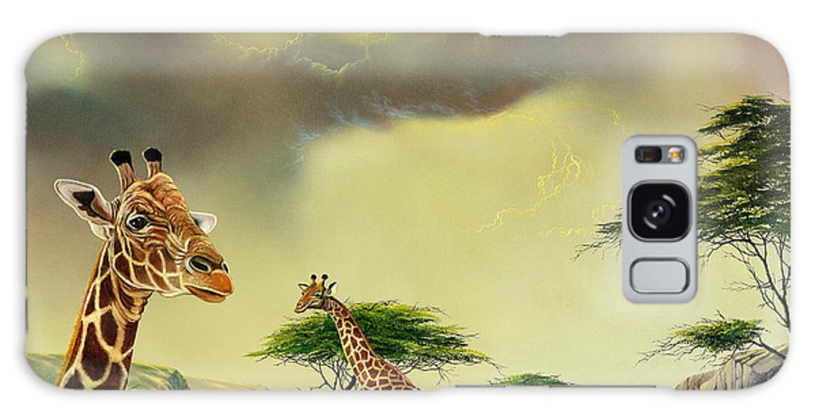 Landscape Galaxy S8 Case featuring the painting Giraffes At Thabazimba by Don Griffiths