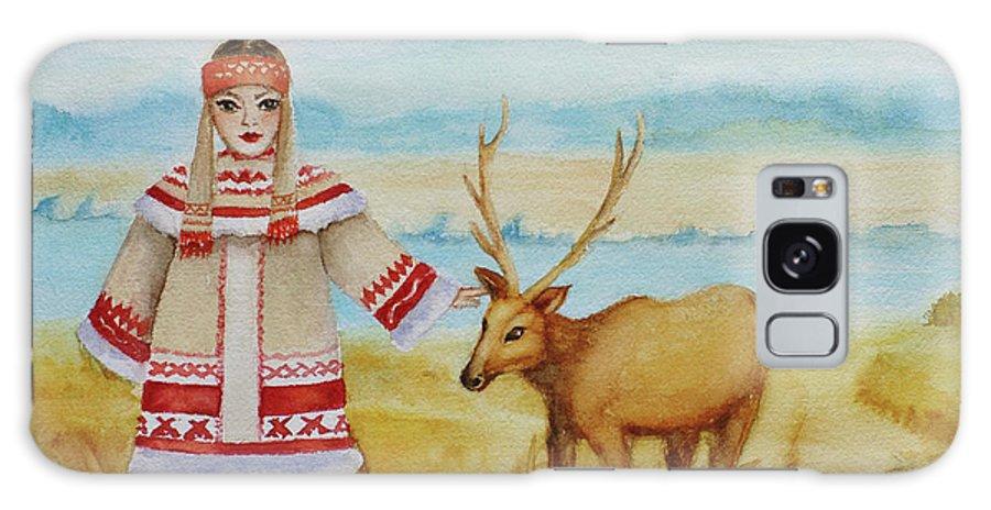 Reindeer Galaxy S8 Case featuring the painting Girl And Deer by Alla Kolerskaya