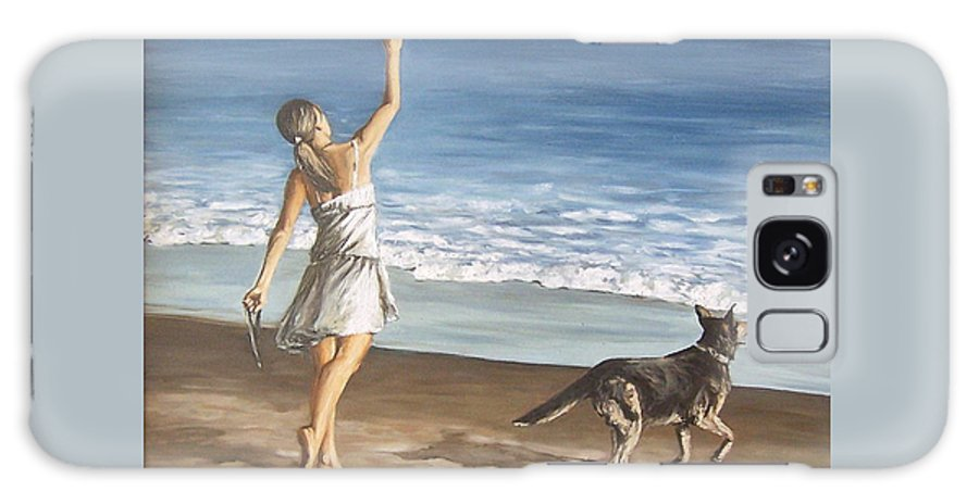 Portrait Girl Beach Dog Seascape Sea Children Figure Figurative Galaxy Case featuring the painting Girl And Dog by Natalia Tejera