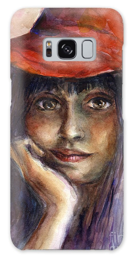 Watercolor Portrait Galaxy S8 Case featuring the painting Girl In A Red Hat Portrait by Svetlana Novikova