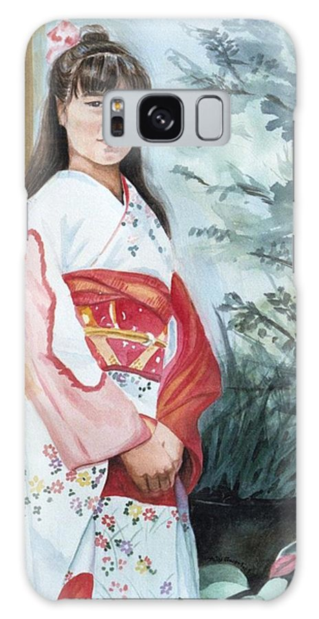 Japanese Girl In Kimono Galaxy S8 Case featuring the painting Girl In Kimono by Judy Swerlick