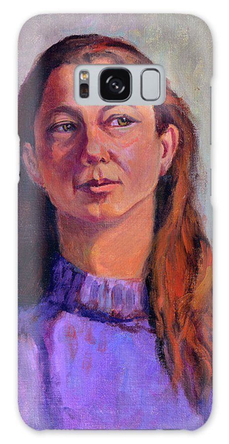 Portrait Galaxy S8 Case featuring the painting Girl In Purple by Keith Burgess