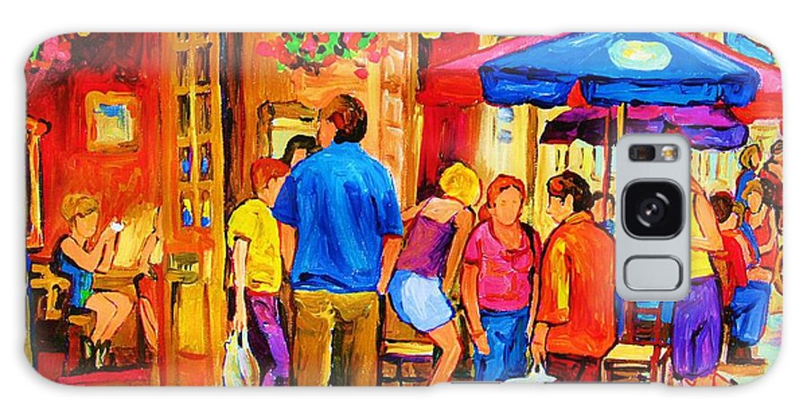 Montreal Cafe Scenes Galaxy S8 Case featuring the painting Girl In The Cafe by Carole Spandau