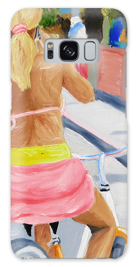 Girl Galaxy Case featuring the painting Girl On Bike by Michael Lee