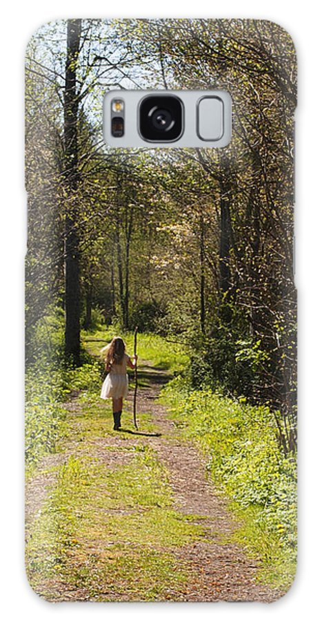 Girl On Trail Galaxy S8 Case featuring the photograph Girl On Trail With Walking Stick by Nancy Clendaniel