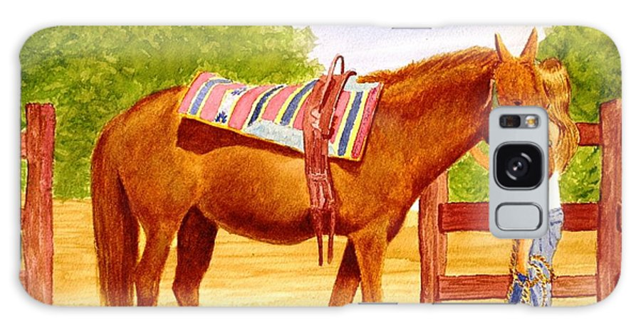 Equine Galaxy S8 Case featuring the painting Girl Talk by Stacy C Bottoms