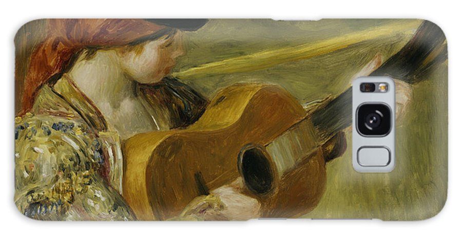 Impressionist; Impressionism; Portrait; Female; Music; Musician Galaxy S8 Case featuring the painting Girl With A Guitar by Pierre Auguste Renoir