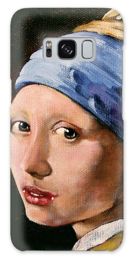 Portrait Galaxy S8 Case featuring the painting Girl With A Pearl Earring A Reproduction Of Vermeer by Joan Garcia