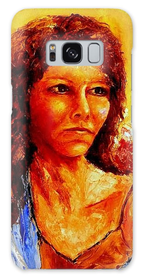 Woman Galaxy S8 Case featuring the painting Girl With Blue Shawl by Shuly Haimsohn Weiner