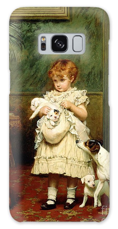 Girl With Dogs Galaxy S8 Case featuring the painting Girl With Dogs by Charles Burton Barber