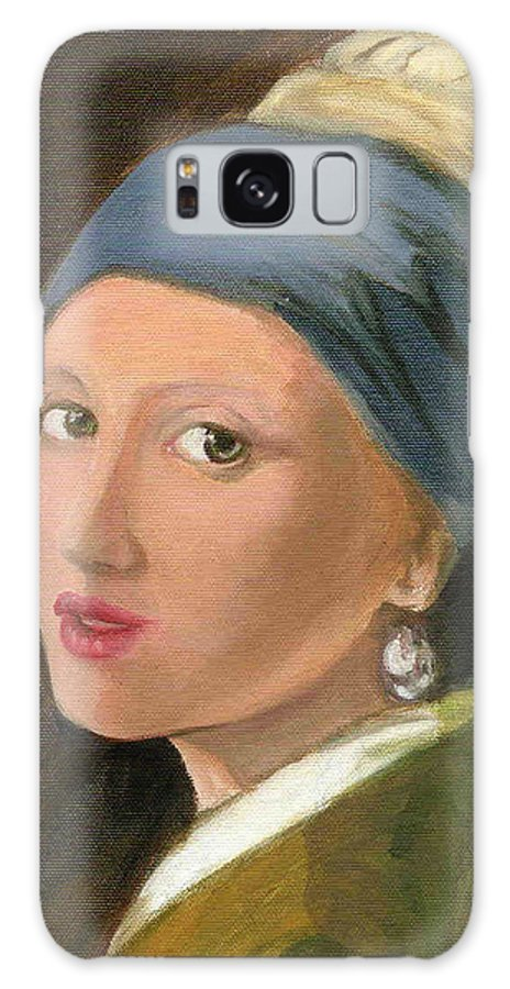 Vermeer's Famous Painting Reproduced Galaxy S8 Case featuring the painting Girl With Pearl Earring Of Vermeer by Asha Sudhaker Shenoy