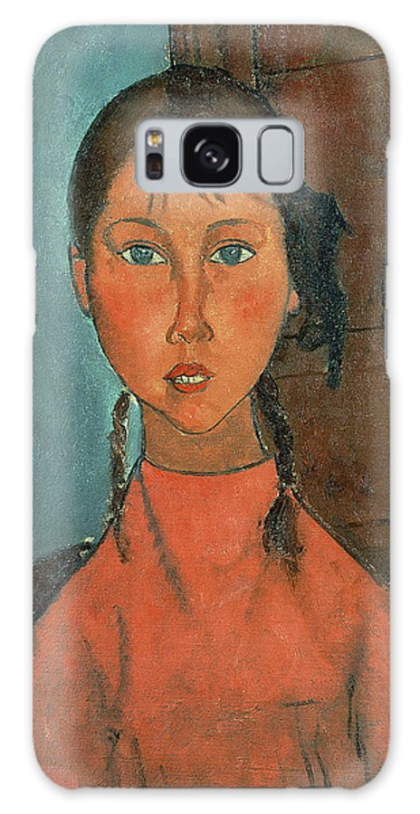 Girl With Pigtails Galaxy S8 Case featuring the painting Girl With Pigtails by Amedeo Modigliani