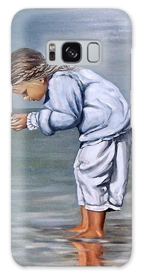 Kid Girl Seascape Sea Children Reflection Water Sea Shell Figurative Galaxy Case featuring the painting Girl With Shell by Natalia Tejera