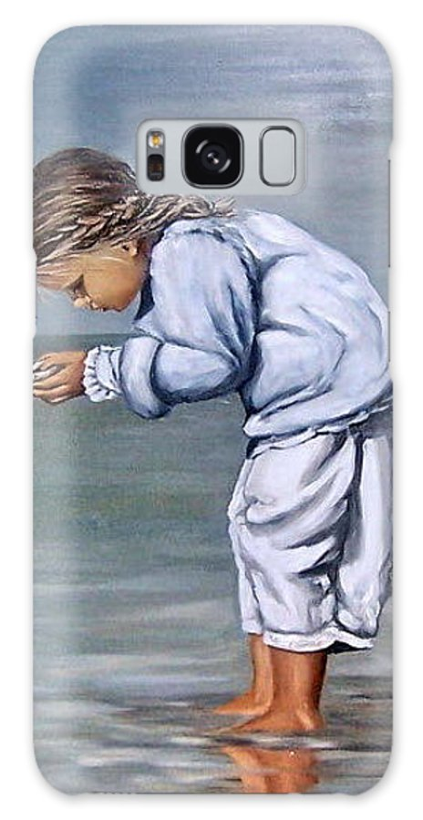 Kid Girl Seascape Sea Children Reflection Water Sea Shell Figurative Galaxy S8 Case featuring the painting Girl With Shell by Natalia Tejera