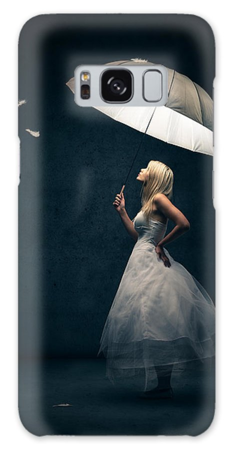 Girl Galaxy S8 Case featuring the photograph Girl With Umbrella And Falling Feathers by Johan Swanepoel