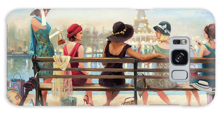 Paris Galaxy Case featuring the painting Girls Day Out by Steve Henderson