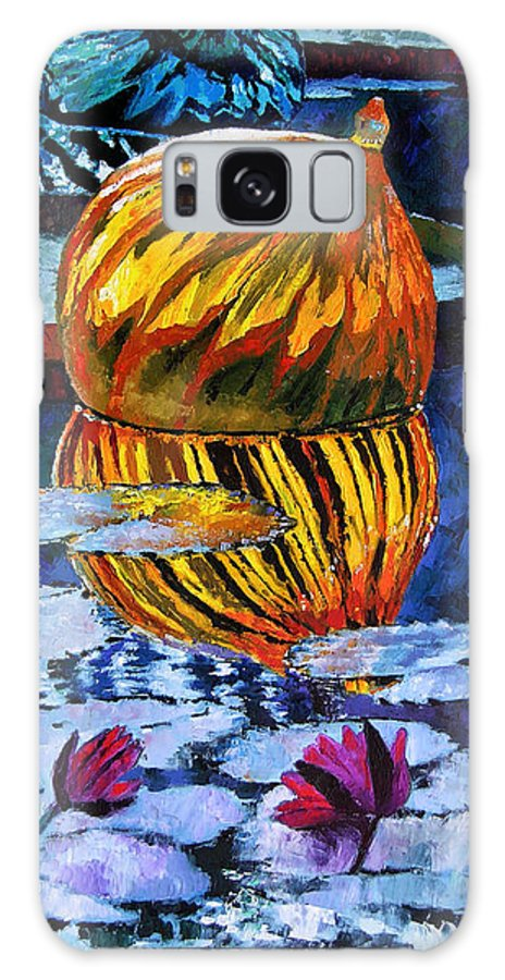 Blown Glass On Lily Pond Galaxy S8 Case featuring the painting Glass Reflections On Lily Pond by John Lautermilch