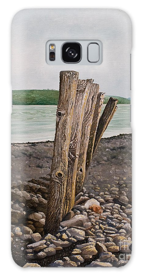Landscape Beach Stones River Shannon Glin Wood Breakers Clare Shadows Galaxy Case featuring the painting Glin Beach Breakers by Pauline Sharp