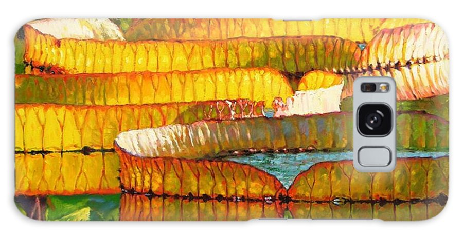 Sun On Lilies Galaxy Case featuring the painting Glorious Morning Lilies by John Lautermilch