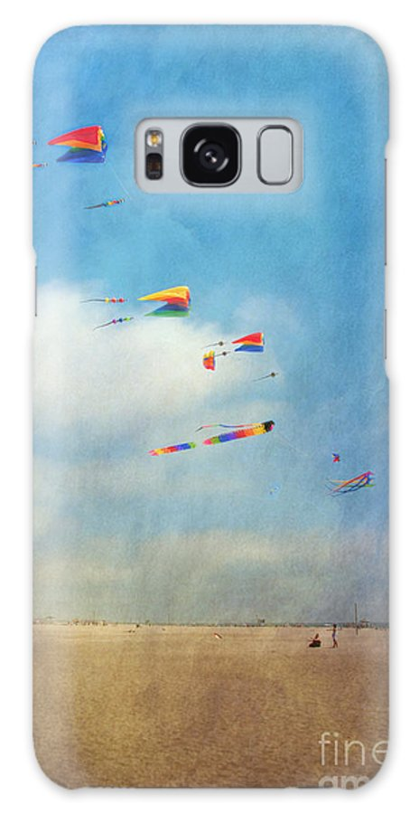 Go Fly A Kite Sand Windy Day Beach Galaxy S8 Case featuring the photograph Go Fly A Kite by David Zanzinger