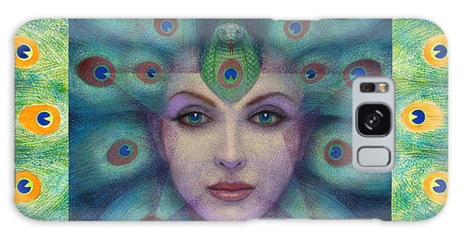 Peacock Lady Galaxy S8 Case featuring the painting Goddess Isis Visions by Sue Halstenberg