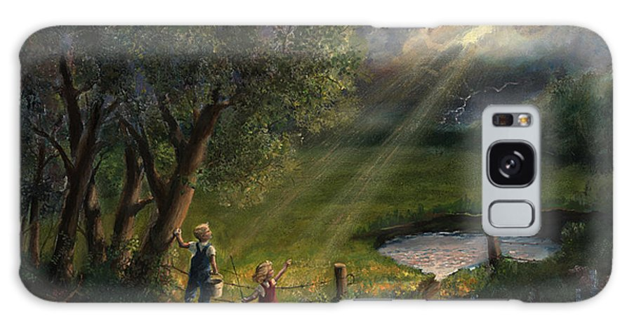 Landscape Galaxy Case featuring the painting Gods Light by Timothy Tron