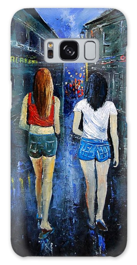 Girl Galaxy Case featuring the painting Going Out Tonight by Pol Ledent