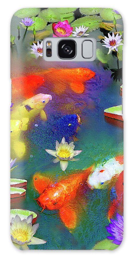 Gold Fish Galaxy S8 Case featuring the painting Gold Fish And Water Lily Pads by Susanna Katherine