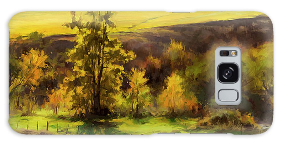 Landscape Galaxy S8 Case featuring the painting Gold Leaf by Steve Henderson