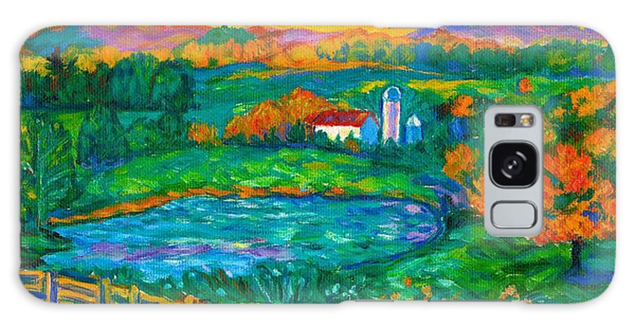 Landscape Galaxy S8 Case featuring the painting Golden Farm Scene Sketch by Kendall Kessler
