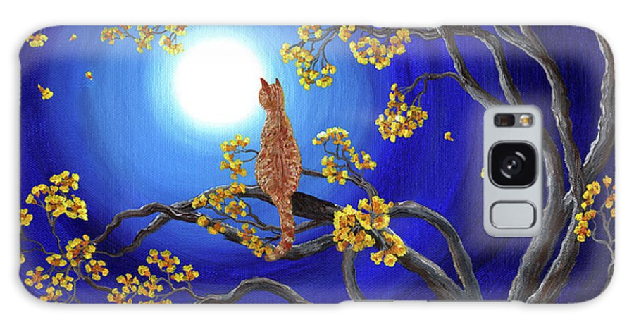 Landscape Galaxy S8 Case featuring the painting Golden Flowers In Moonlight by Laura Iverson