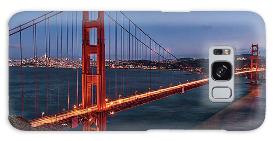 Golden Gate Bridge Galaxy S8 Case featuring the photograph Golden Gate Bridge At Night by Rebecca Gillum
