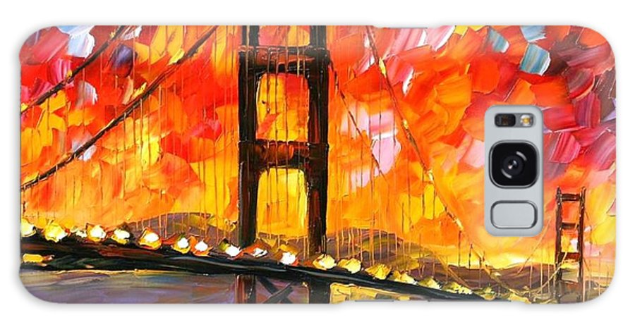 City Galaxy Case featuring the painting Golden Gate Bridge by Leonid Afremov