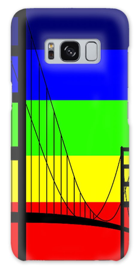 Golden Gate Galaxy Case featuring the digital art Golden Gay by Asbjorn Lonvig