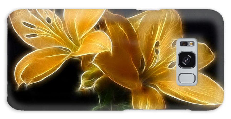 Lilies Galaxy S8 Case featuring the digital art Golden Lilies by Sandy Keeton