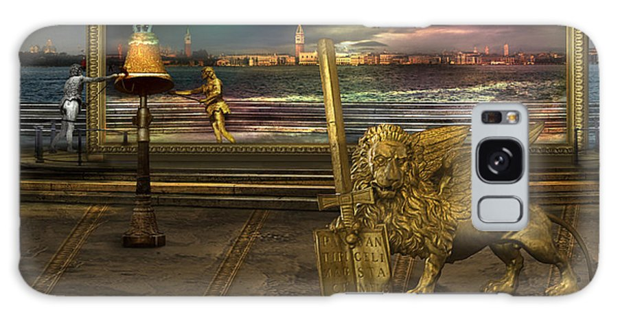 Golden Lion Gold Sword Surrealism Magic Italy Book Register Color Magical Miraculous Land Surrealism Galaxy Case featuring the photograph Golden Lion From Alternative Earth by Desislava Draganova