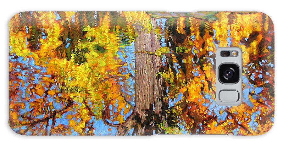 Landscape Galaxy S8 Case featuring the painting Golden Reflections On Lily Pond by John Lautermilch