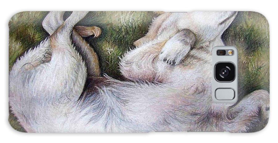 Dog Galaxy Case featuring the pastel Golden Retriever Puppy by Nicole Zeug