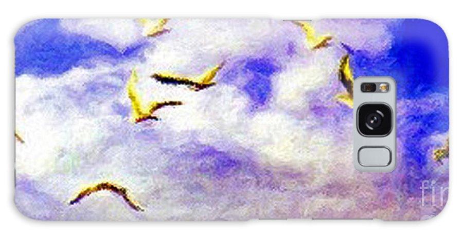 Gulls Galaxy Case featuring the digital art Golden Seagulls by Jerome Stumphauzer
