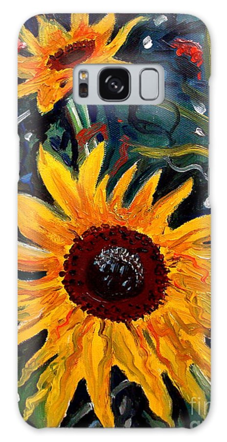 Impressionism Galaxy S8 Case featuring the painting Golden Sunflower Burst by Elizabeth Robinette Tyndall