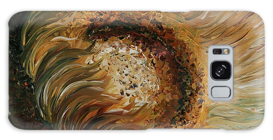 Sunflower Galaxy Case featuring the painting Golden Sunflower by Nadine Rippelmeyer