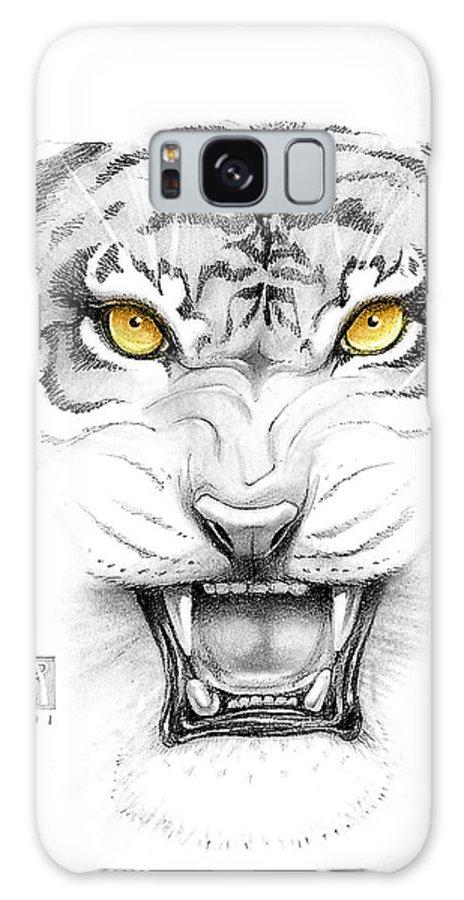 Amber Galaxy S8 Case featuring the digital art Golden Tiger Eyes by Melissa A Benson