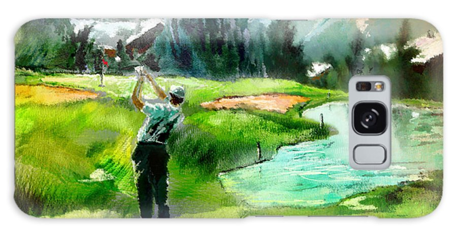 Golf Galaxy S8 Case featuring the painting Golf In Crans Sur Sierre Switzerland 01 by Miki De Goodaboom