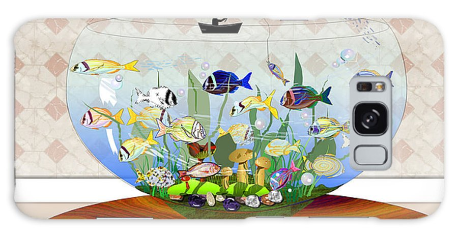 Fish Galaxy Case featuring the digital art Gone Fishing by Arline Wagner