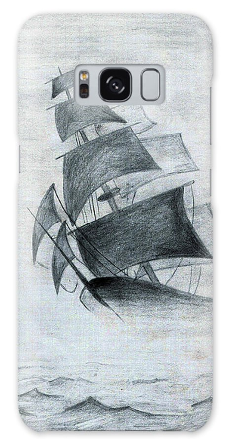 Sailboats Galaxy S8 Case featuring the drawing Gone With The Wind by Farah Faizal