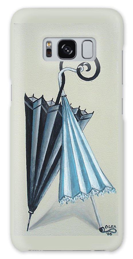 Umbrellas Galaxy S8 Case featuring the painting Goog Morning by Olga Alexeeva