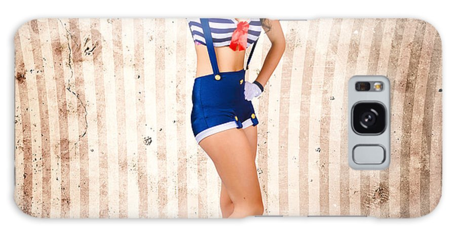 Greeting Galaxy Case featuring the photograph Gorgeous Young Retro Pinup Sailor Girl by Jorgo Photography - Wall Art Gallery
