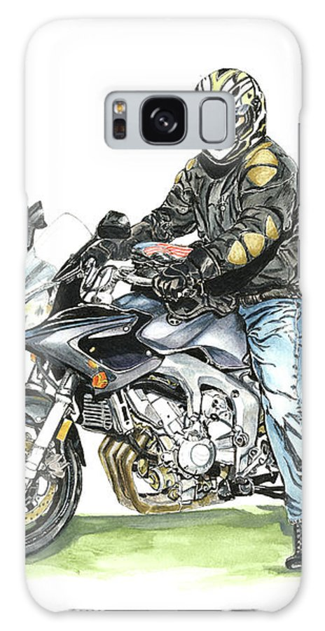 Motorcycle Galaxy S8 Case featuring the painting Got To Ride by Shari Nees