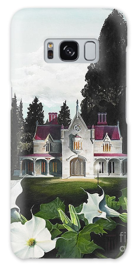 Fantasy Galaxy Case featuring the painting Gothic Country House Detail From Night Bridge by Melissa A Benson